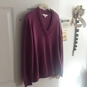 Liz Claiborne Cotton V-Neck Sweater